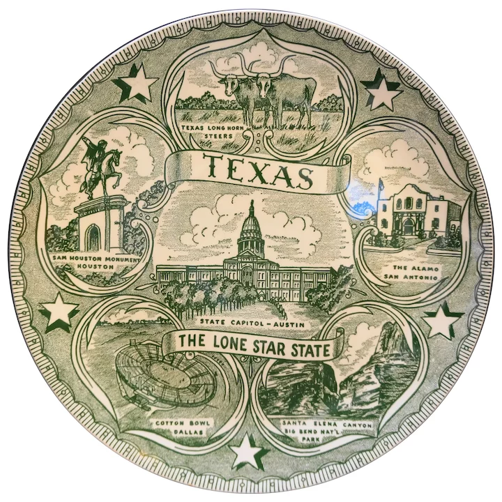 Texas Lone Star State Green Transferware Souvenir Plate Hoosier Collectibles Ruby Lane Souvenir Plates Lone Star Transferware
