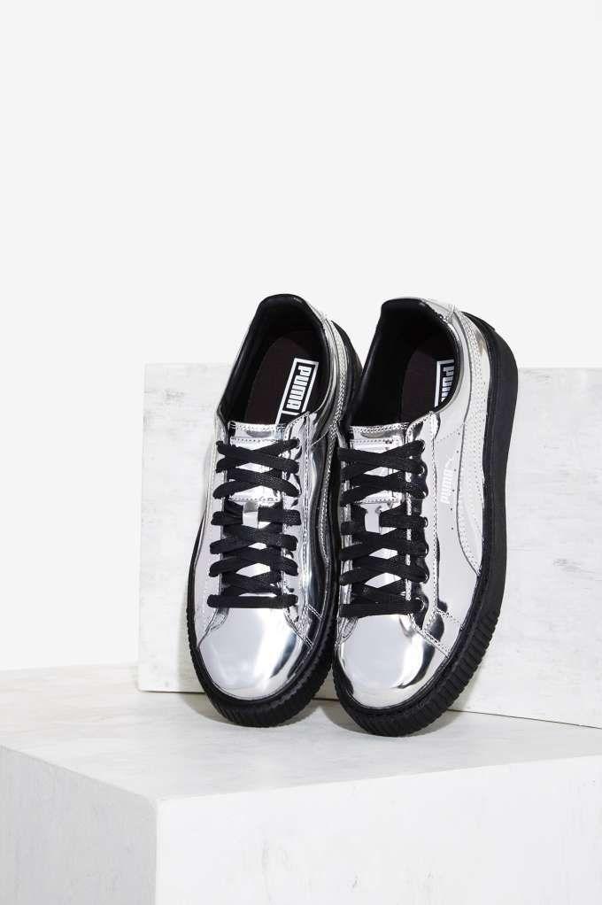 2159831eeb2 PUMA Basket Platform Metallic Sneaker - Silver - Shoes