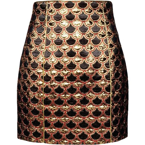 BALMAIN Mini skirt ($625) ❤ liked on Polyvore featuring skirts, mini skirts, balmain, bottoms, saias, gold, pattern skirt, a line skirt, colorful skirts and multicolor skirt