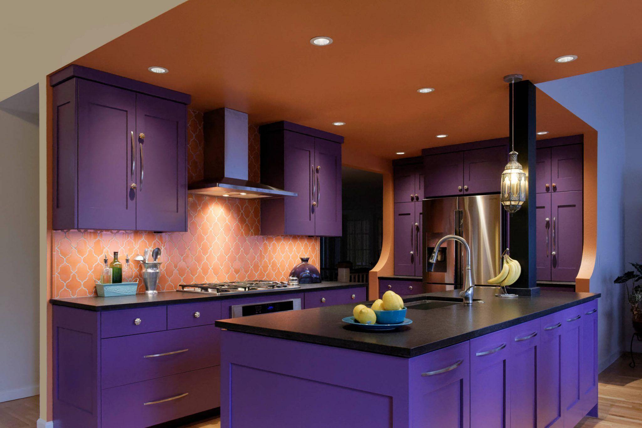 Purple Kitchen Cabinets Shaker Style Purple Kitchen Cabinets Purple Kitchen Kitchen Cabinets