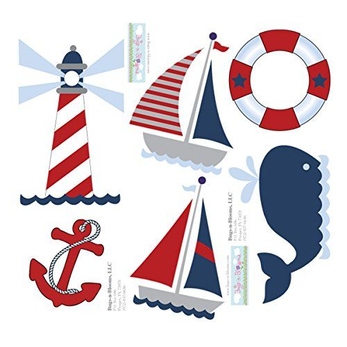 Wall decals are made from durable vinyl and come in nautical & ocean styles with adorable sailboats, light house, anchor, life preserver and a whale. Nursery wall stickers are perfect for any little boys nautical & ocean themed bedroom or nursery. When decorating a child's room, or playroom, walls are the largest surface you have to work with and you want it to be perfect. Vinyl wall stickers are easy to apply, look great and coordinate with any bedding. Bugs-n-Blooms also specialize...