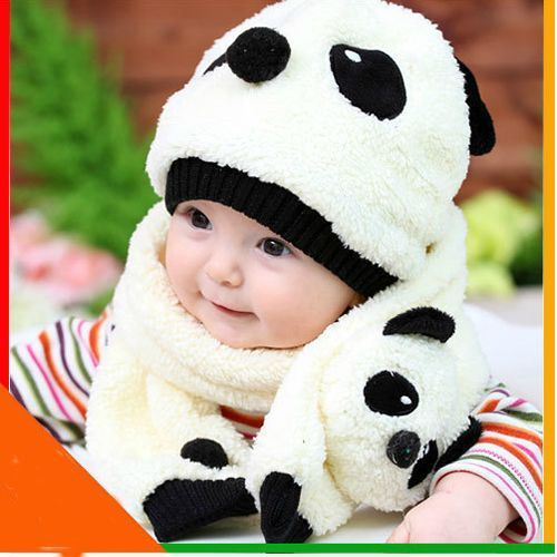 a290a6292f8 New Baby White Panda Shape Cotton Velvet Winter Hat Cap Scarf Sets One Size