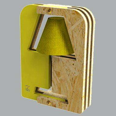 Luminaire design. Lampe Modul'o 5 Ekologic. OSB et MDF sans formaldéhyde, peinture naturelle, lampe basse consommation et production locale.  En promotion à 95 €