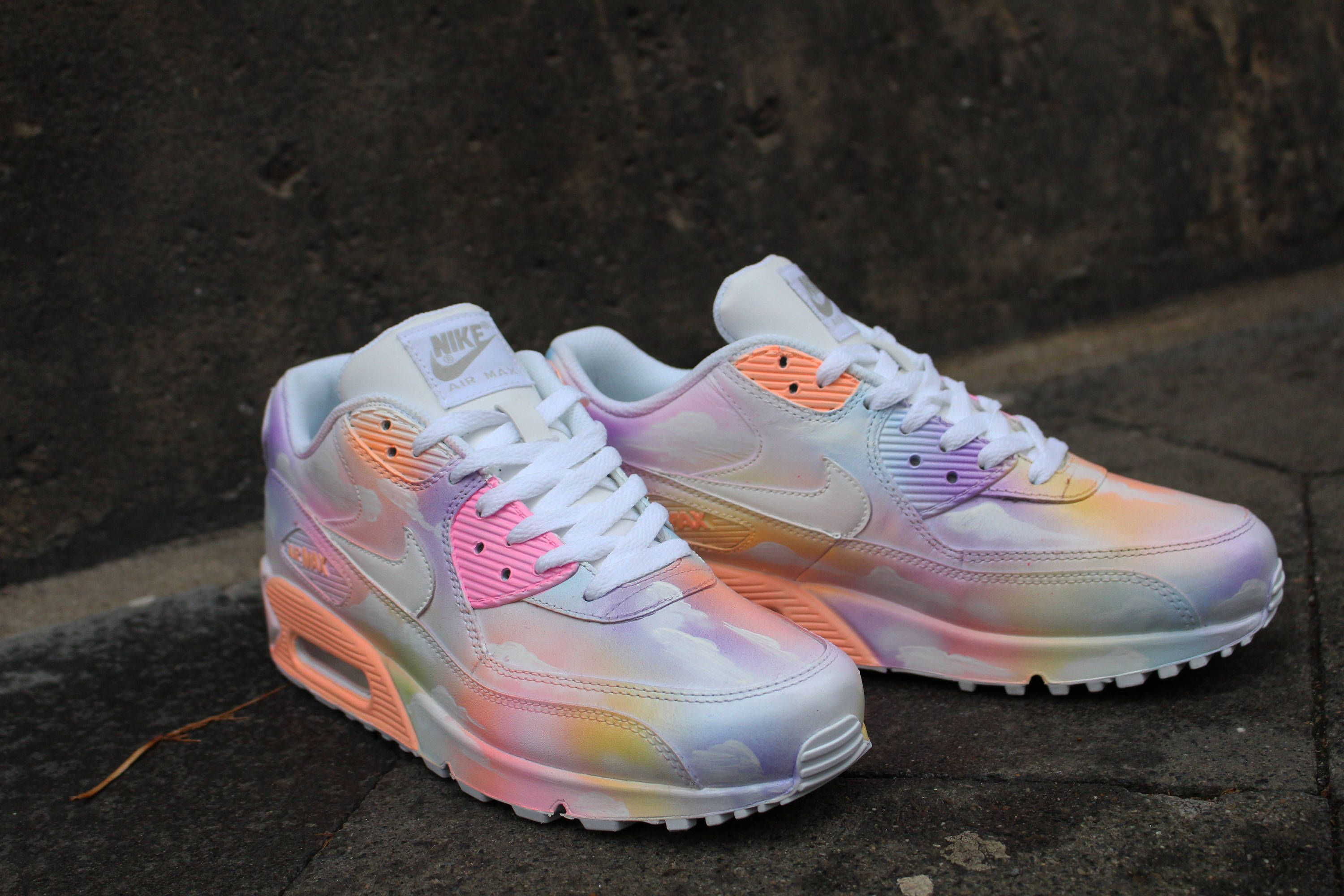 quality design 571c2 49b9d Custom painted Nike Air Max 90 Cloudy pastell Dream Art Style   Etsy Air  Max 90