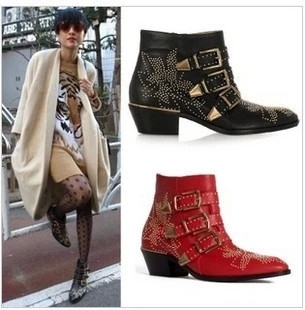 85.00$  Buy now - http://ali3f7.worldwells.pw/go.php?t=32784483296 - New Design Round Toe Low Square Heel Rivets Booties Metal Decoration Black Red Boots Zip Ankle PVC Boots