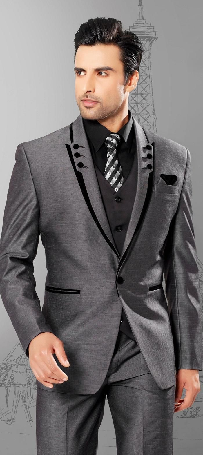 Cheap Men Suits Slim Fit Peaked Lapel Tuxedos Grey Wedding Suits ...