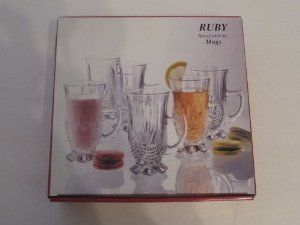 Ruby Crystal Glasses Set of 6 ( 6 Oz. Mugs ) by Laura Glass. $59.98. Mugs Sit on a Foot ( Very Decorative detail ) With Handle; Great For Whatever Beverage They Hold; Great For Your Favorite Parfeits; 6 0z. Each. Set Of Six 6 oz Mugs
