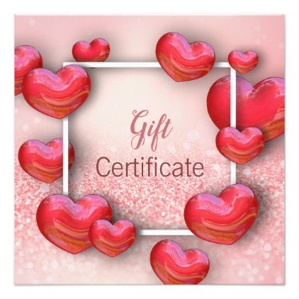 ValentineS Day Red Hearts  Gift Certificate Card  Valentines