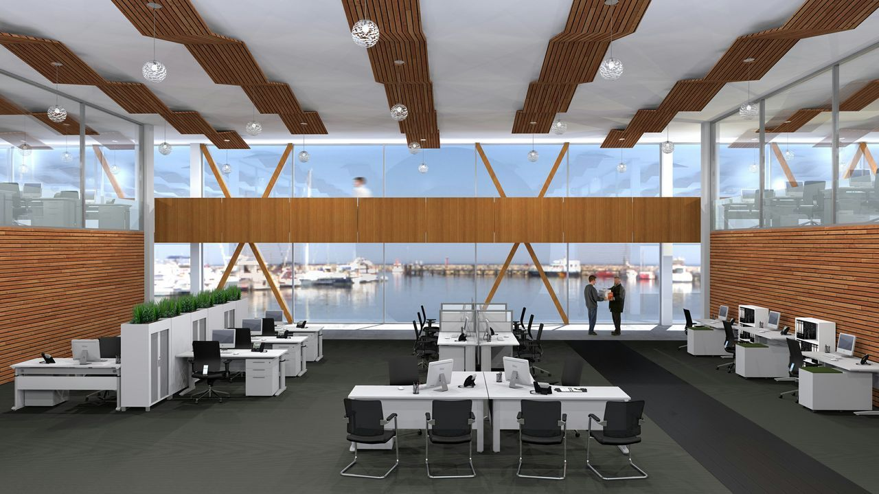 Modern open plan offices need sleek and funky workstations for Modern tech office design