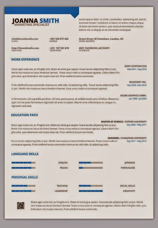 Minimal One Page Resume PSD Template JOB Pinterest Resume cv - single page resume template