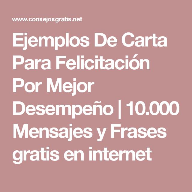 Ejemplos De Carta Para Felicitación Por Mejor Desempeño | 10.000 ...