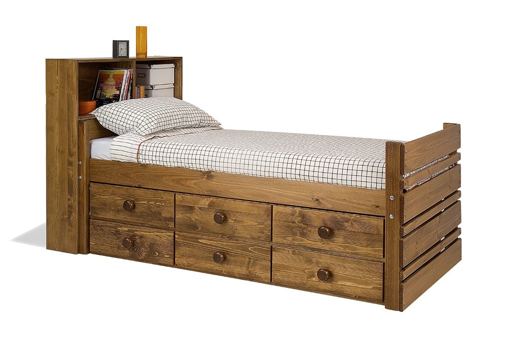 Captains Bed with Underbed Drawers and Bookshelf Bunk