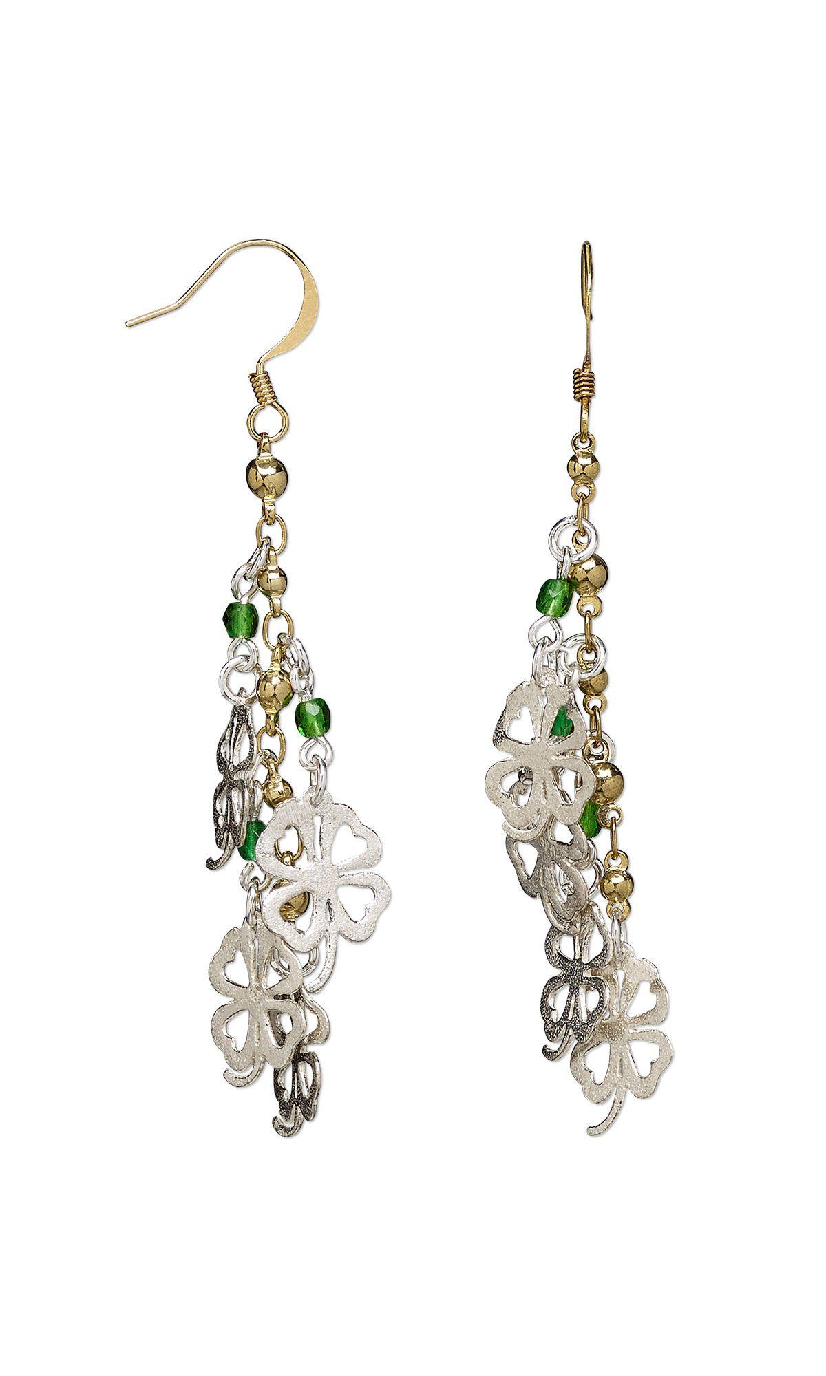 Cascading Clovers #diyEarrings  #beading #diyjewelrymaking #jewelrymaking #StPatricksJewelry