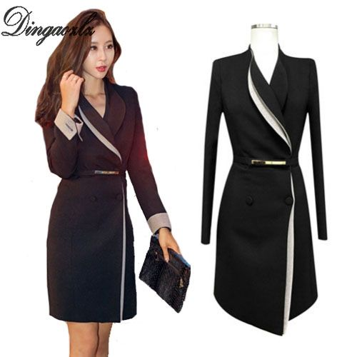Dingaozlz 2018 Spring Women coat all-match office lady Blazer fashion  clothes Slim Long dress 72f1bd7cb1d9