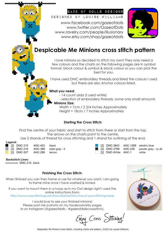 Despicable Me Minions Cross Stitch pattern (instant pdf) $3.12 ...