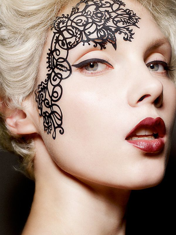 """Lace Face"" decals with pale face and red lips"