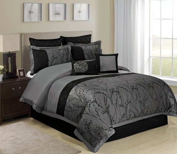 8 Piece Wisteria Tree Branches Grey Comforter King Starting At 39 Comforter Sets Luxurious Bedrooms Bed Linens Luxury