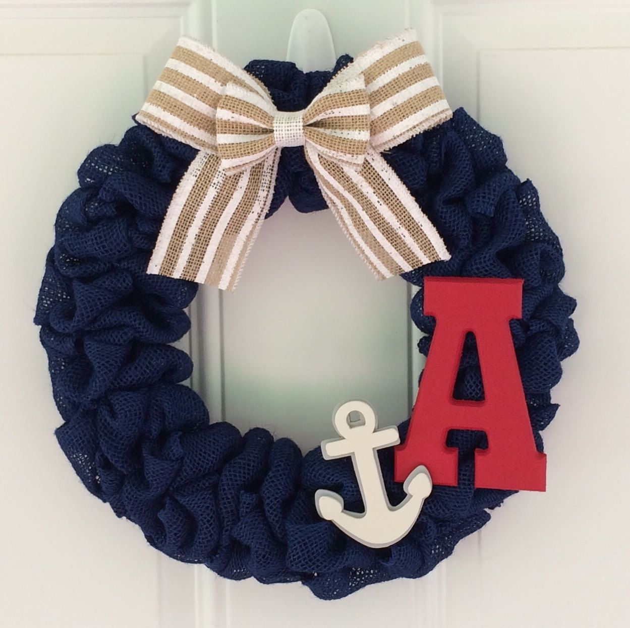 Burlap Wreath With Burlap Striped Bow Initial Anchor
