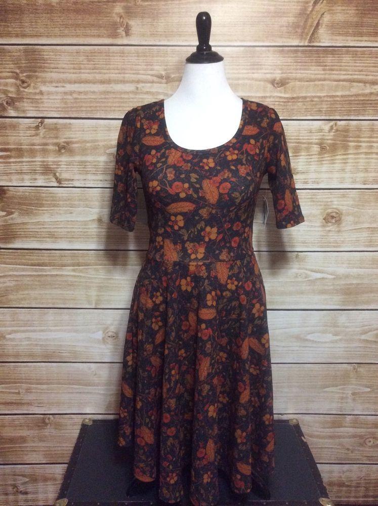 LuLaRoe Black Red Floral Nicole Dress Large NWT #LuLaRoe #EmpireWaist #WeartoWork