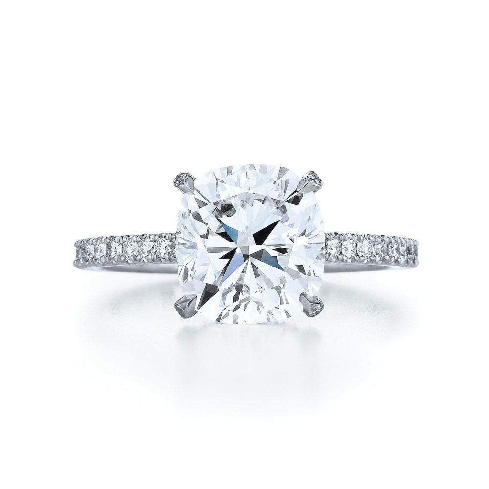Cushion Diamond Ring in a Platinum Pave Setting with a Floating Basket