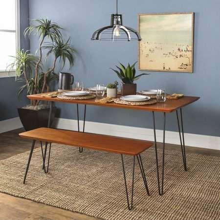 Manor Park 2 Piece Mid Century Modern Dining Table Set Walnut