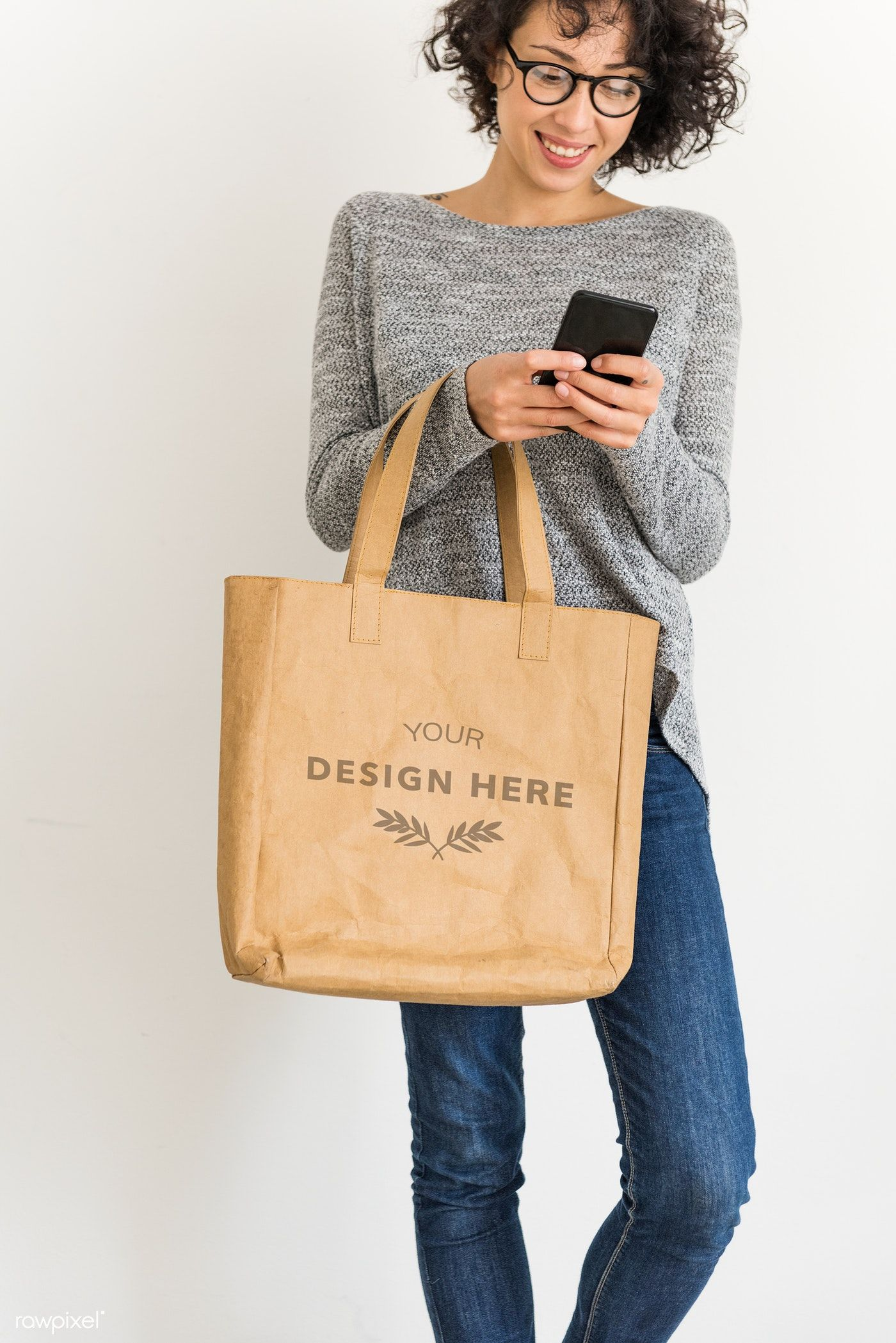 Download Download Premium Psd Of Woman Holding Design Space Leather Tote Bag 296254 Tote Bag Leather Tote Leather Tote Bag