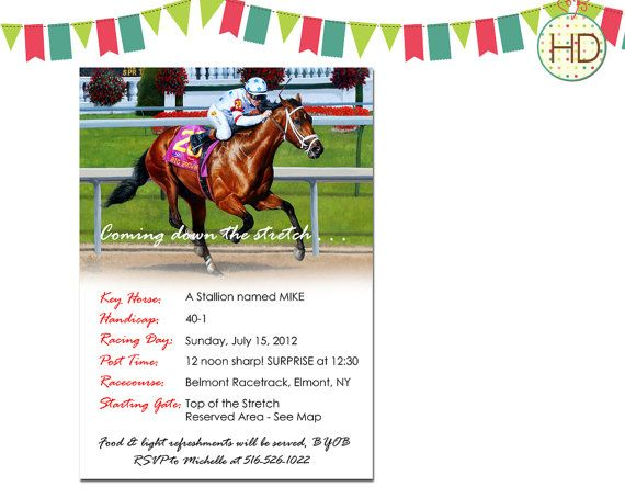 Horse Racing Birthday Invitation Racing Birthday by HDInvitations