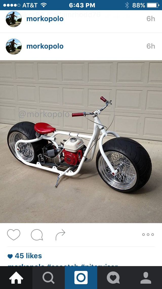 I really like this guys home made scooter bike go check out his