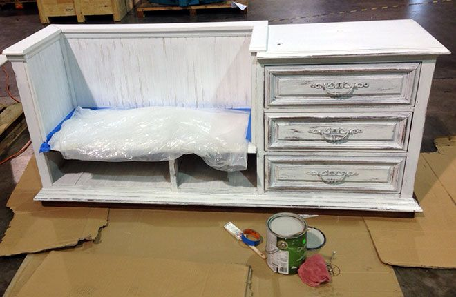 DIY upcycle project: converting an old credenza into a bench