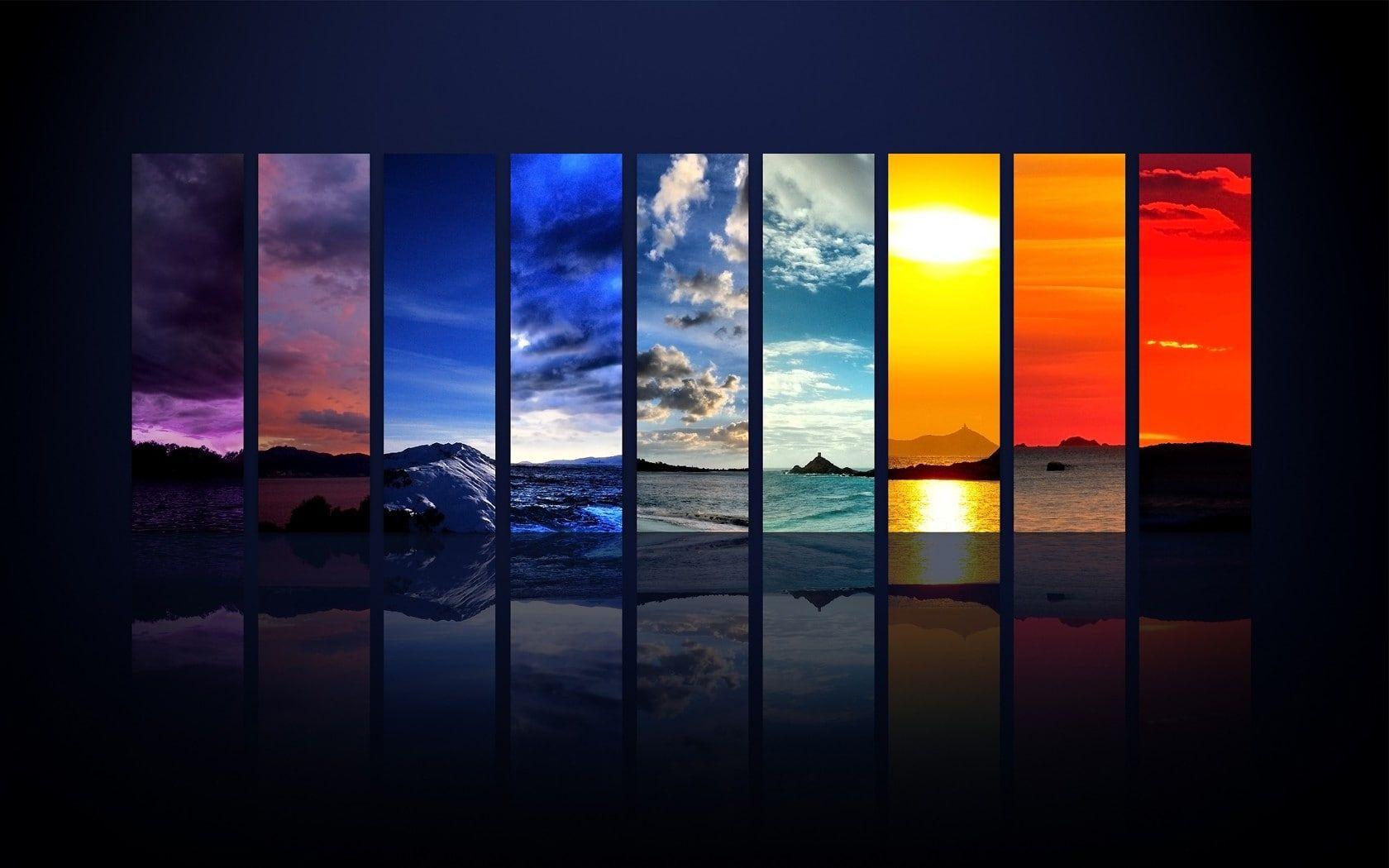 Adobe Photoshop Digital Art Four Seasons Landscape Rainbows 720p Wallpaper Hdwallpaper Desktop Wallpapers Backgrounds Graphic Wallpaper Rainbow Wallpaper