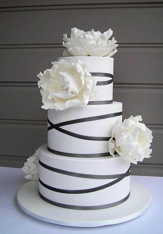 White Flowers Black Stripes Wedding Cake Cameron Hollyer Cameron