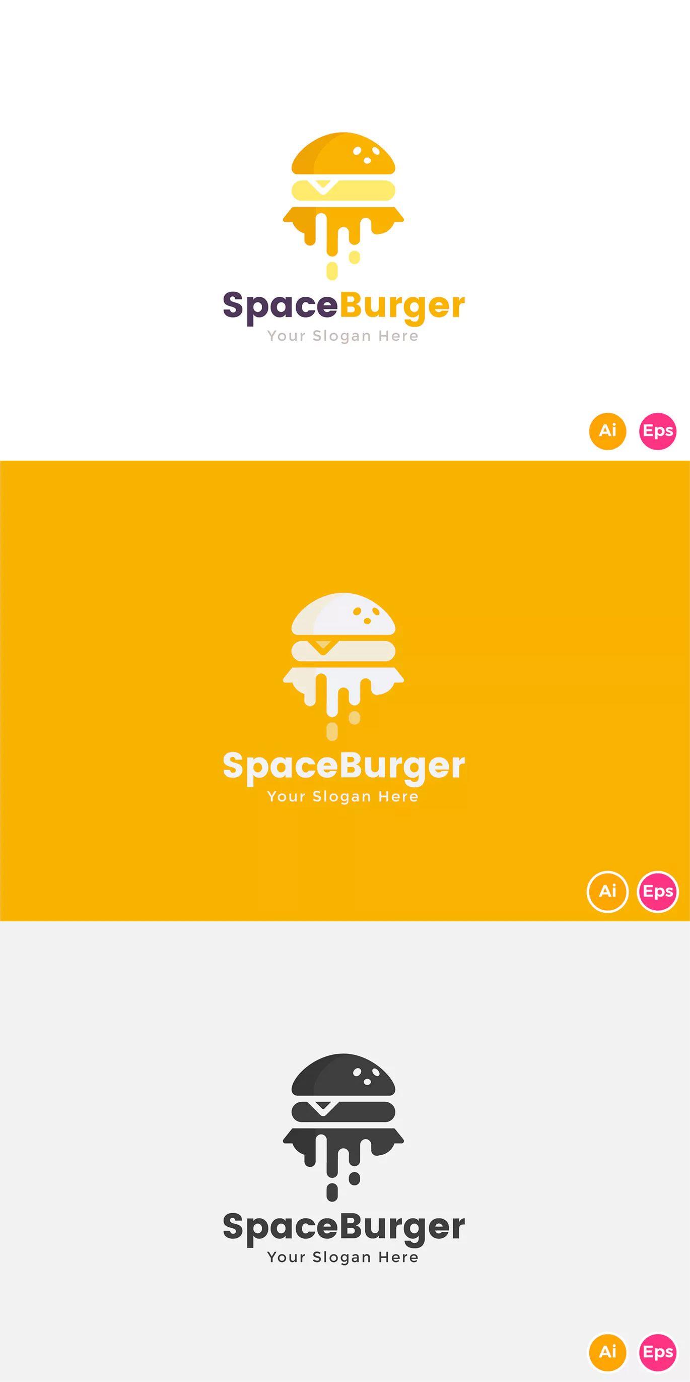 space burger fast food logo template ai eps logo templates