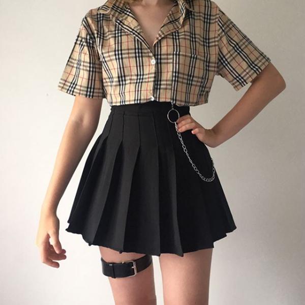 Photo of Plaid shirt  high waist skirt YV40347 | Youvimi