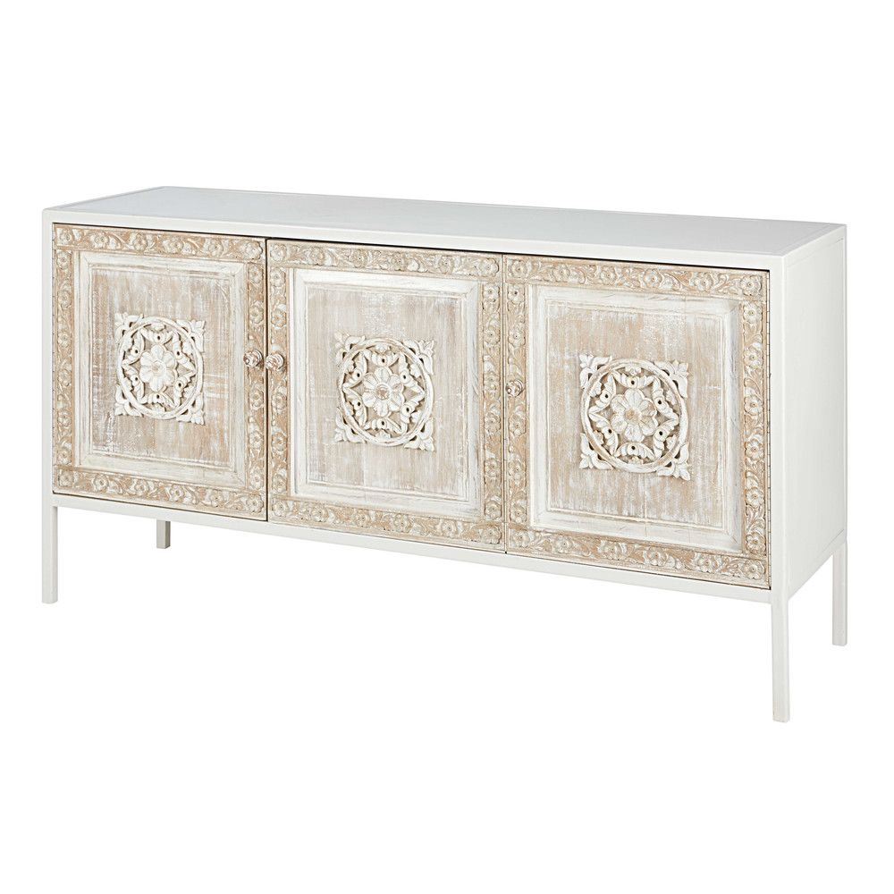 White Metal And Sculpted Mango Mambok Unique Bedroom Furniture Boho Dining Room Minimalist Home Interior
