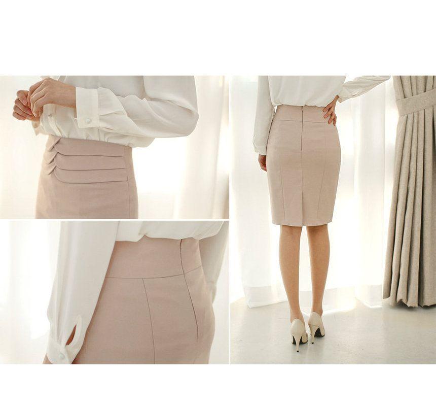 Layered-Trim Pencil Skirt