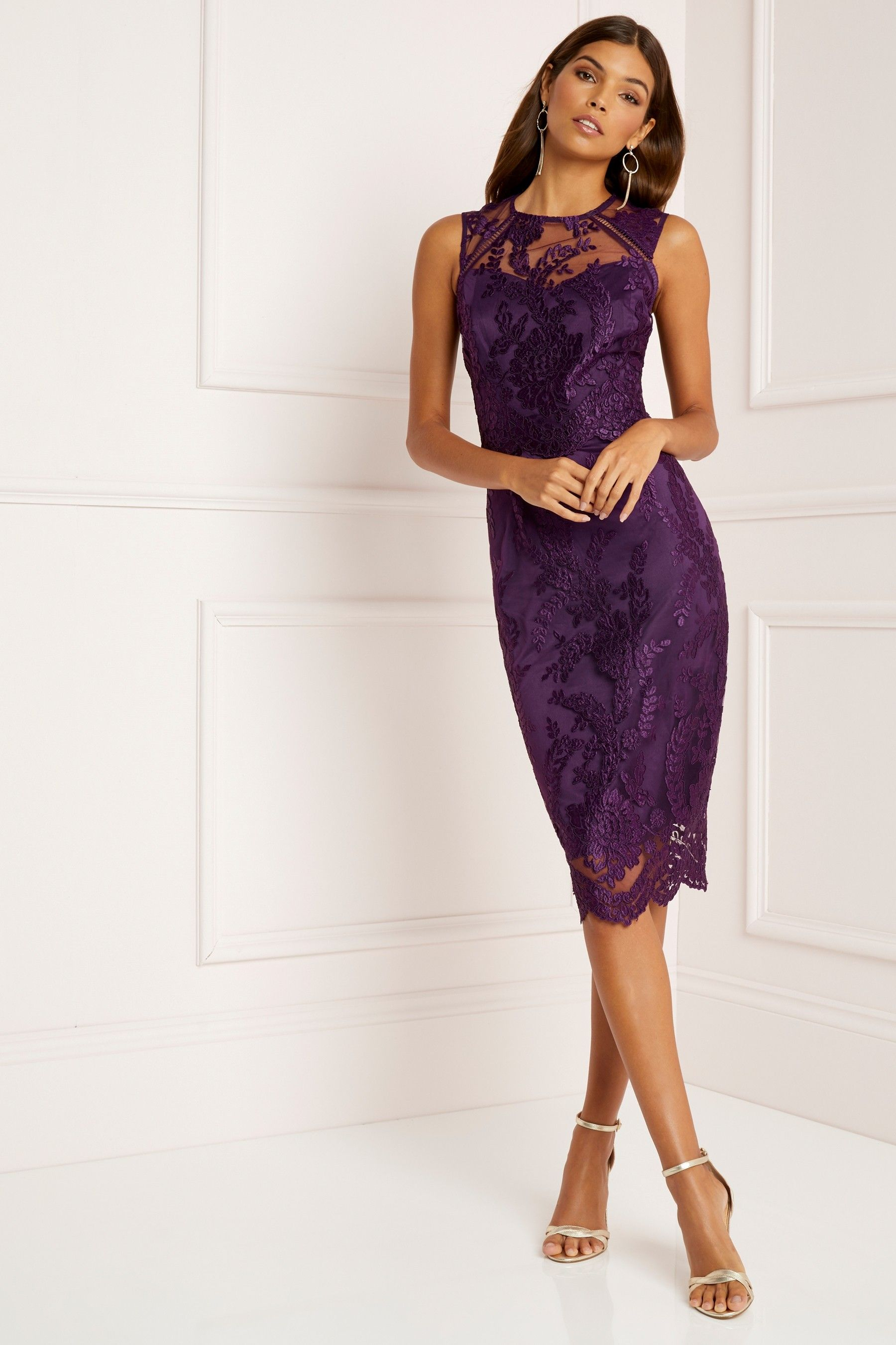 c9310ec2fbb Buy Lipsy VIP Sequin Scallop Lace Midi Dress from the Next UK online shop