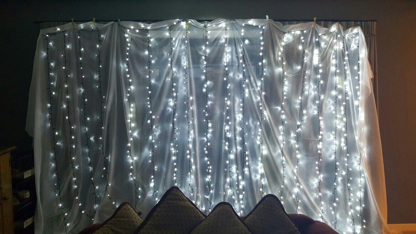 Fairy light backdrop wedding fairylights diy lights
