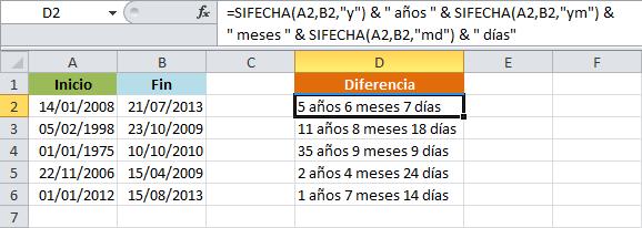 Calcular Años Meses Y Días Entre Dos Fechas En Excel Excel Total Fechas Años