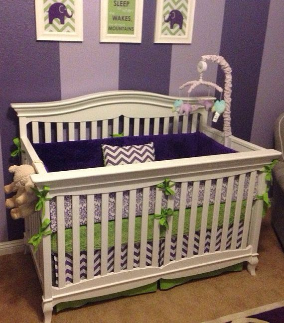 Modern Lime Green And Purple Crib Bedding By Erbeansboutique 340 00