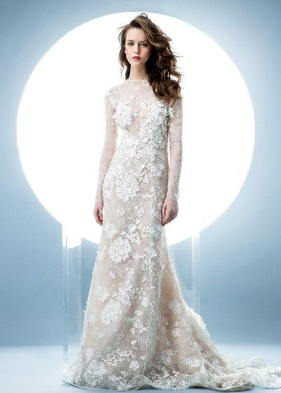 Angel Sanchez's Spring 2016 lace bridal dress with a jewel neckline and long sheer sleeves