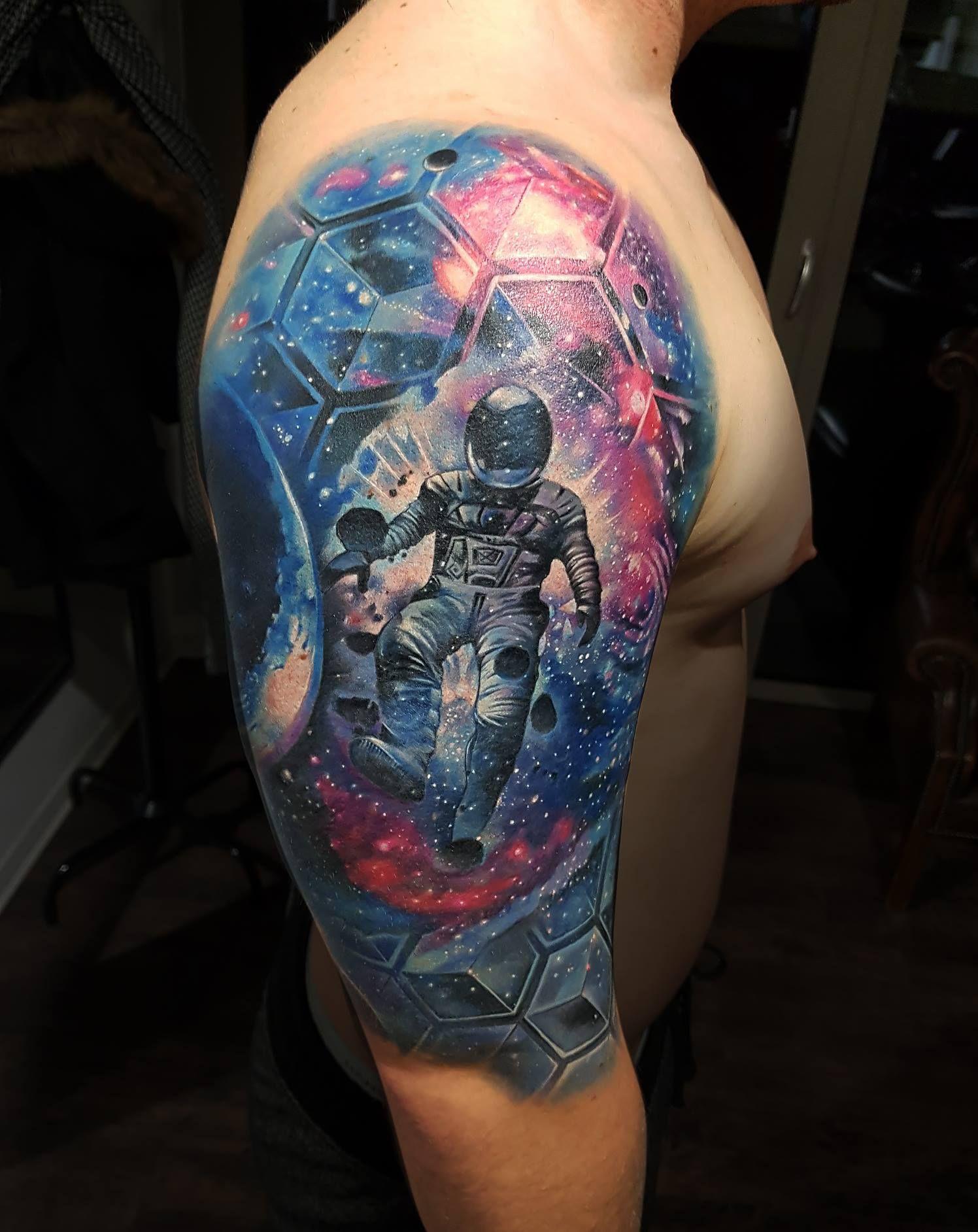 Galaxy Tattoo Astronaut Tattoo Cover Up