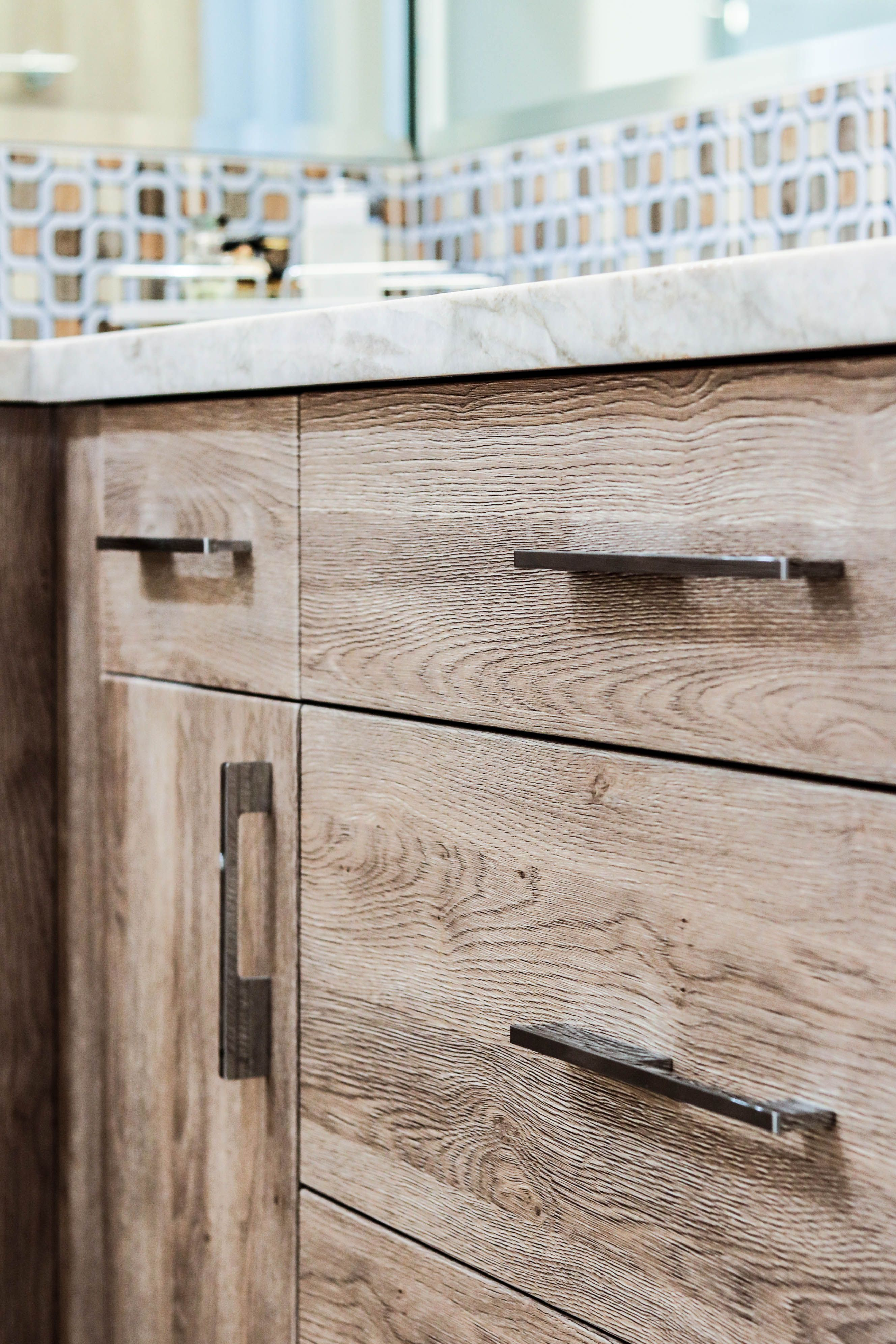 Textured Frameless Cabinetry Faux Wood Textures Are An