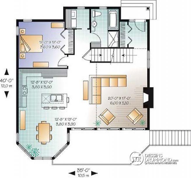 Plan De Rez-De-Chaussée Chalet Populaire Avec 3 Chambres, Mezzanine