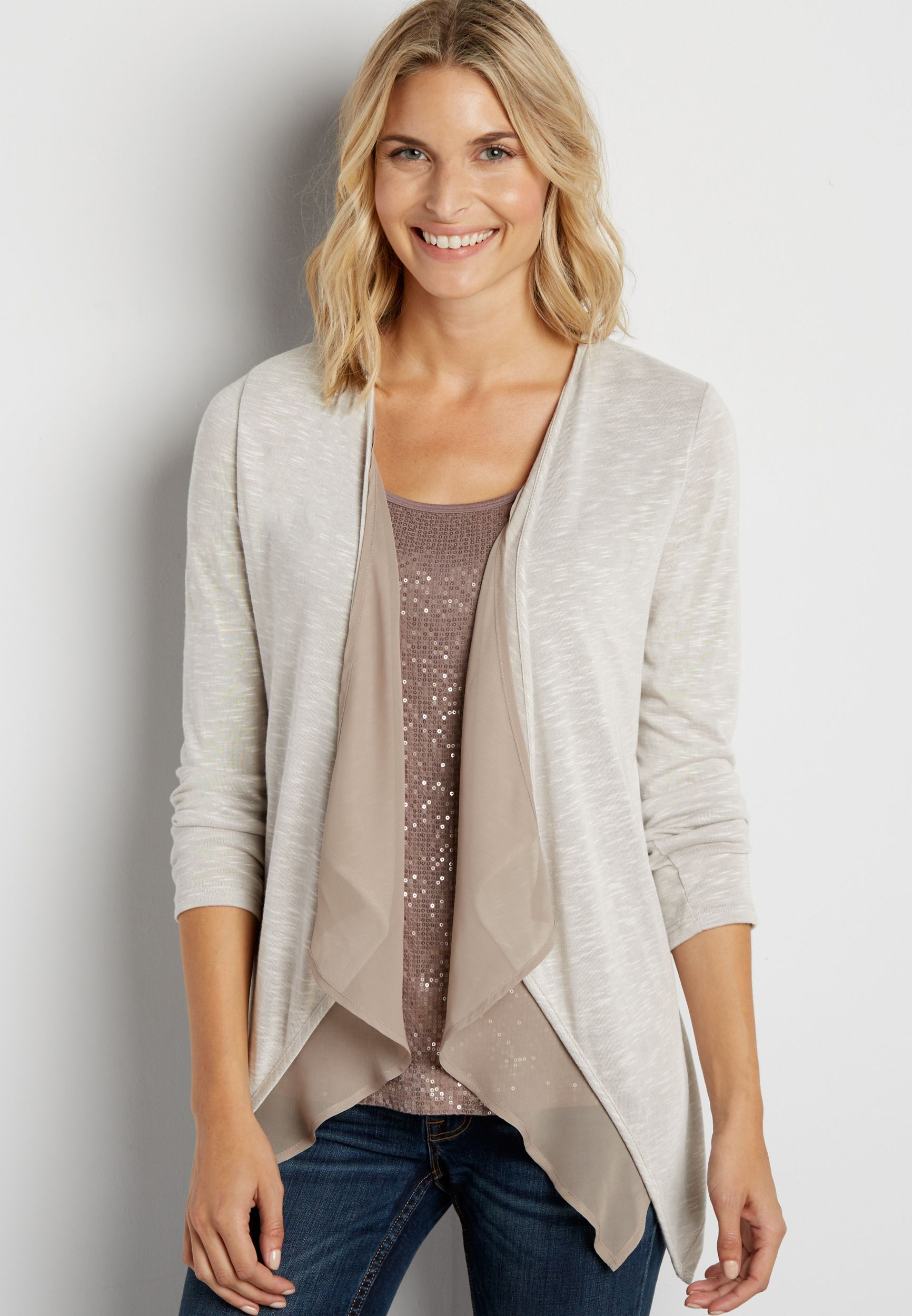lightweight cardigan with chiffon trim in oatmeal | Holiday Wish ...
