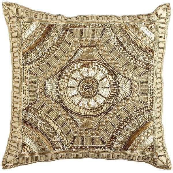 Pier 1 Imports Calico Gold Beaded Medallion Pillow 3 595