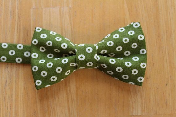 Father Son Match 100/% Cotton Handmade Green White Dots Bow Tie Bowtie Wedding