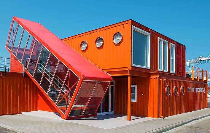 7 Bright red shipping containers repurposed as modern offices in Israel | Inhabitat - Sustainable Design Innovation, Eco Architecture, Green Building