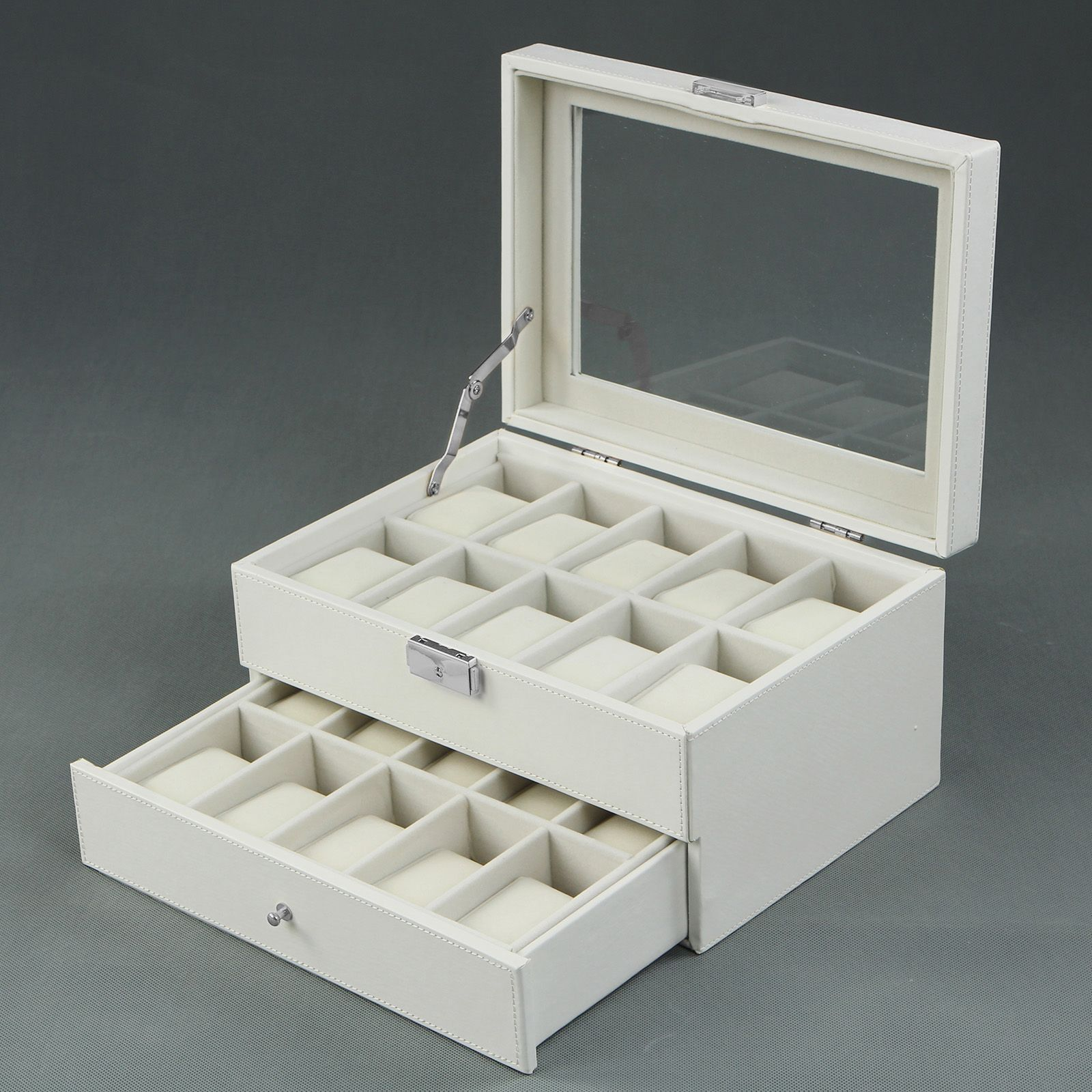 Songmics White Leather 20 Watch Box with Drawer Glass Top Lockable