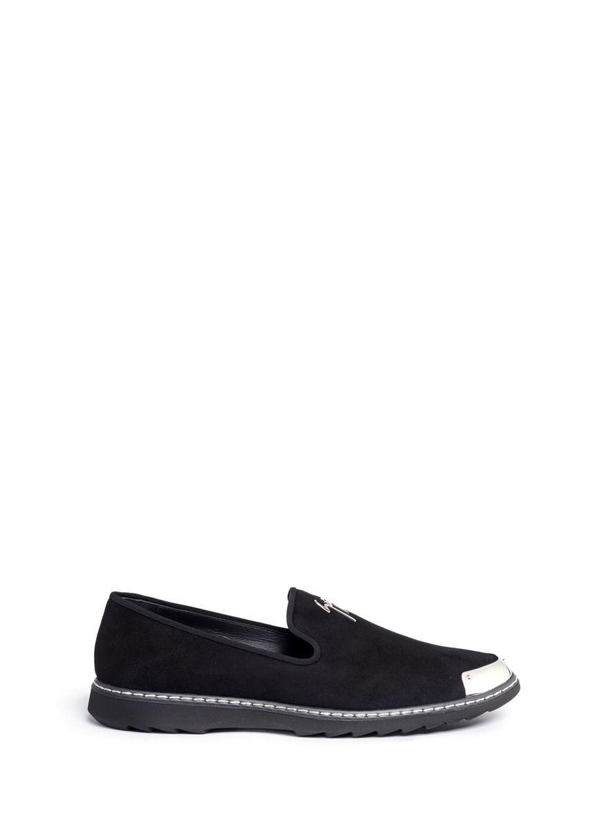 GIUSEPPE ZANOTTI 'Kevin' Metal Toe Cap Suede Slip-Ons. #giuseppezanotti #shoes #slip-ons