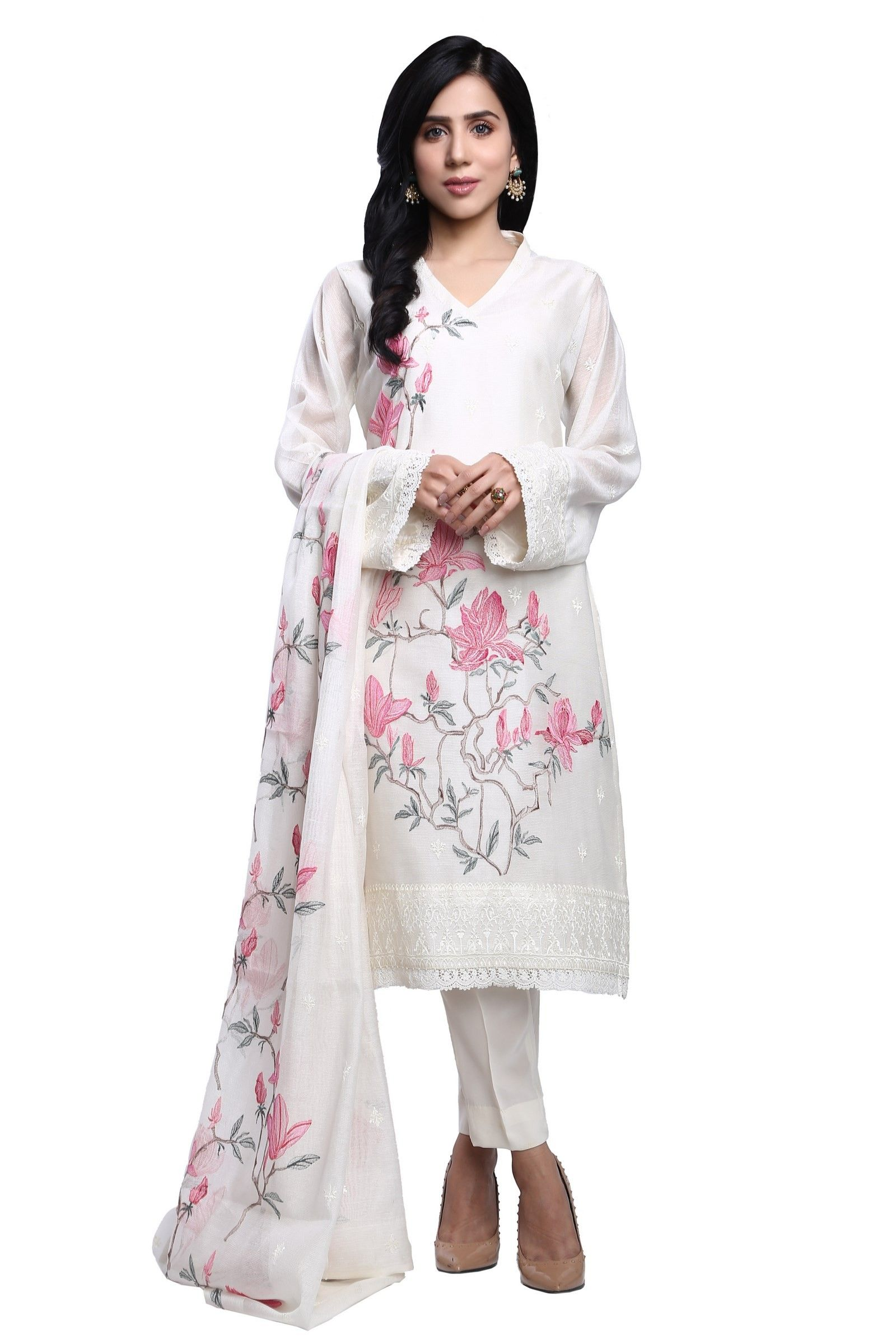 50117e73b9 Floral white stitched suit by Bareeze formal collection  2019.#springcollection #spring #readytowear #pretwear #unstitched #online  #linen #lawncollection ...